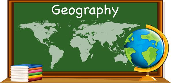 Geography text, chalkboard, books