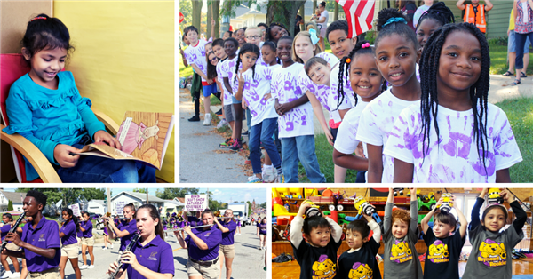 collage of students reading, at parades, playing instruments, and holding toys